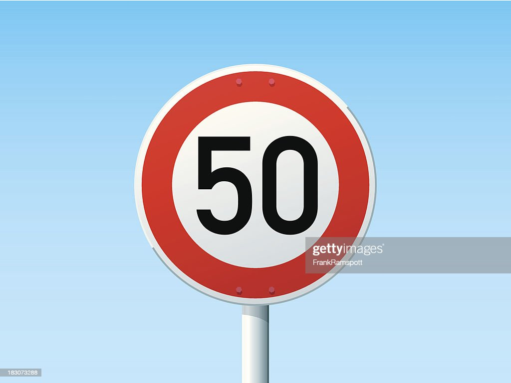 German Road Sign Speed Limit 50 kmh : Stockillustraties