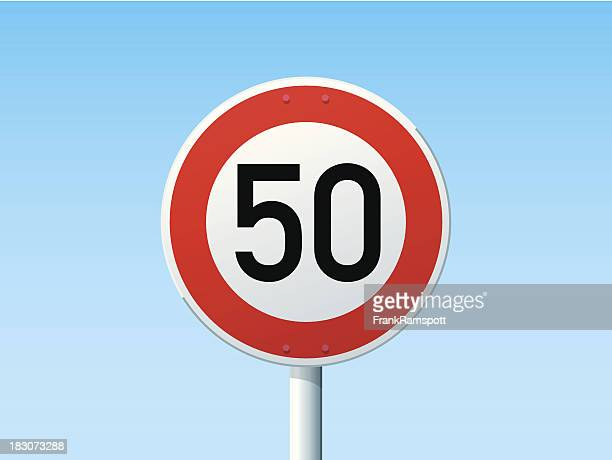 German Road Sign Speed Limit 50 kmh