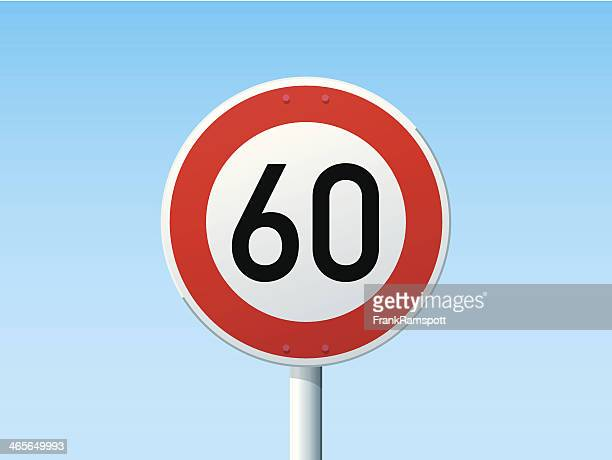 ドイツの速度制限標識 60 kmh - 数字の60点のイラスト素材/クリップアート素材/マンガ素材/アイコン素材