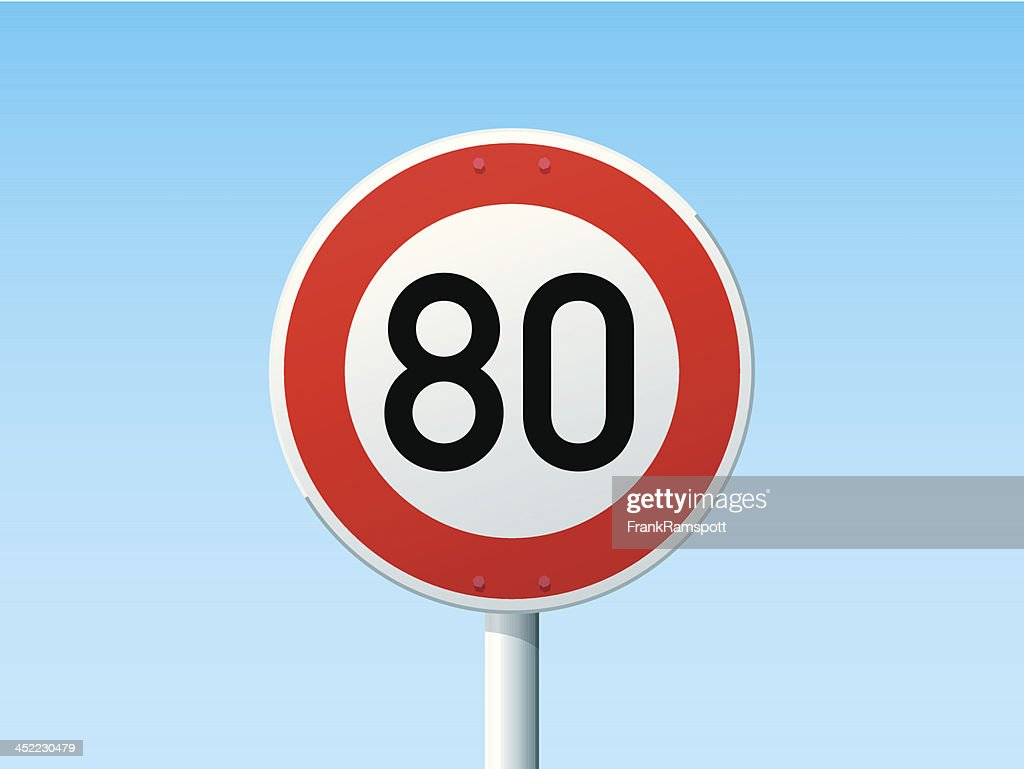 German Road Sign Speed Limit 80 Kmh stock illustration
