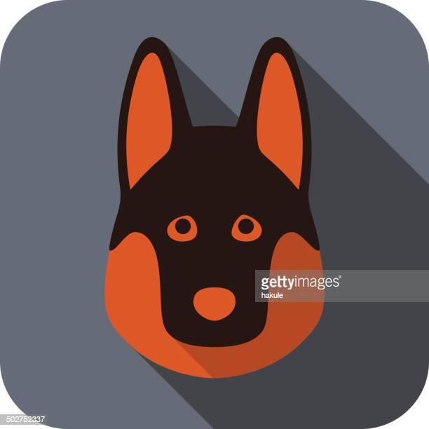 ilustrações, clipart, desenhos animados e ícones de cão plana ícone de rosto - cultura alemã