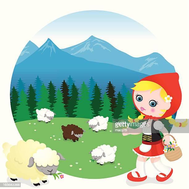 german swiss sheep girl - braided hair stock illustrations, clip art, cartoons, & icons
