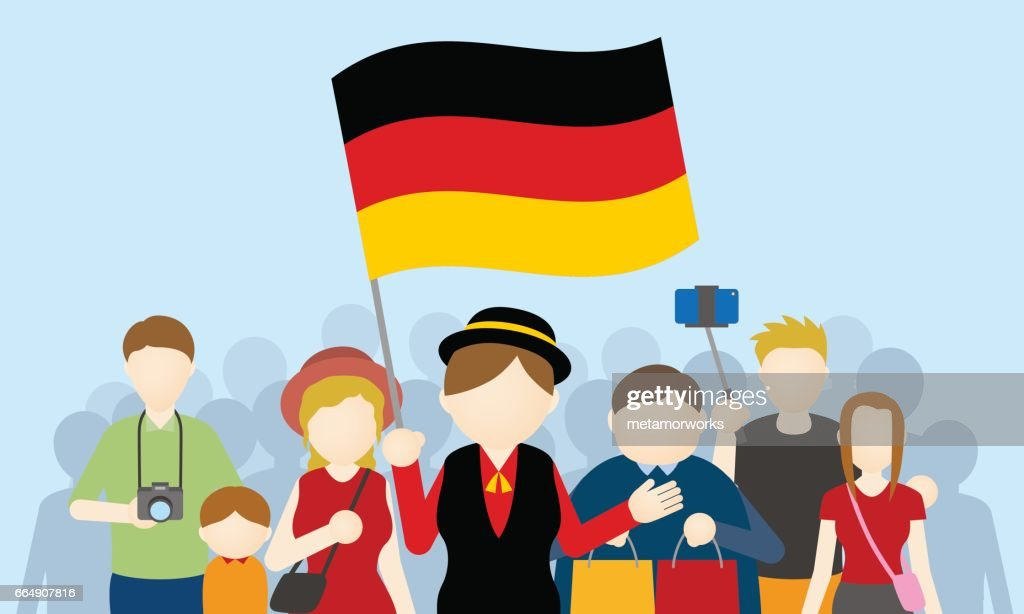 german tourists and tour guide, Inbound tourism, vector illustration