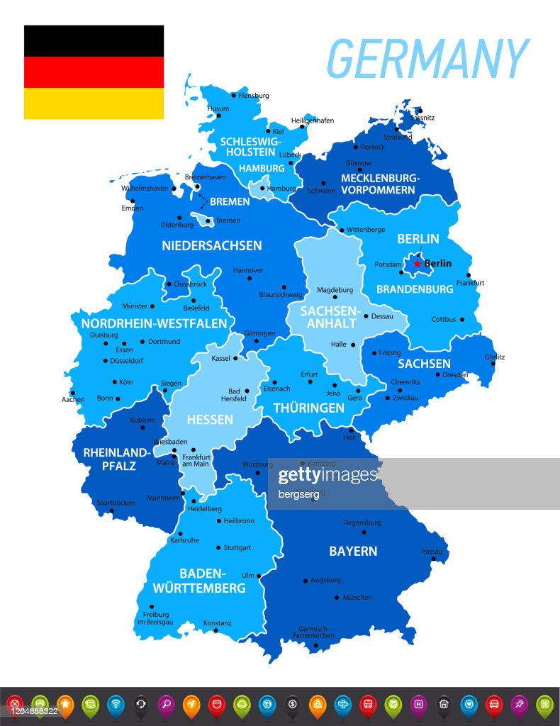Germany Blue Map With National German Flag Vector Blue Illustration With Regions Icon Set And Capital Cities High Res Vector Graphic Getty Images