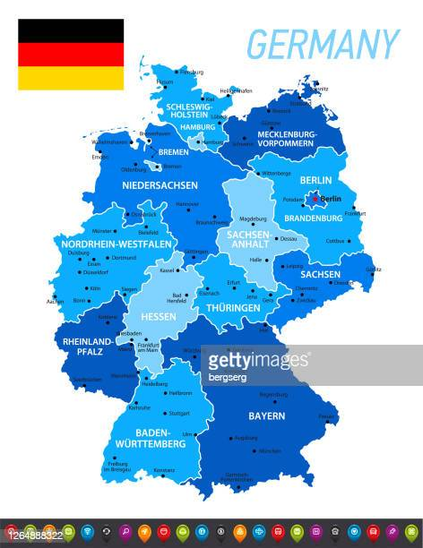 stockillustraties, clipart, cartoons en iconen met duitsland blauwe kaart met nationale duitse vlag. vector blauwe illustratie met gebieden, pictogram reeks en hoofdsteden - germany