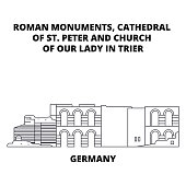 Germany, Cathedral Of St. Peter And Church Of Our Lady In Trier line icon concept. Germany, Cathedral Of St. Peter And Church Of Our Lady In Trier linear vector sign, symbol, illustration.