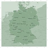 Germany Country Vector Map Olive Green