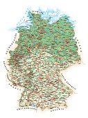 Germany - detailed topographic map - illustration