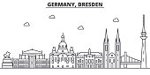 Germany, Dresden architecture line skyline illustration. Linear vector cityscape with famous landmarks, city sights, design icons. Landscape wtih editable strokes