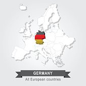 Germany. Europe administrative map.