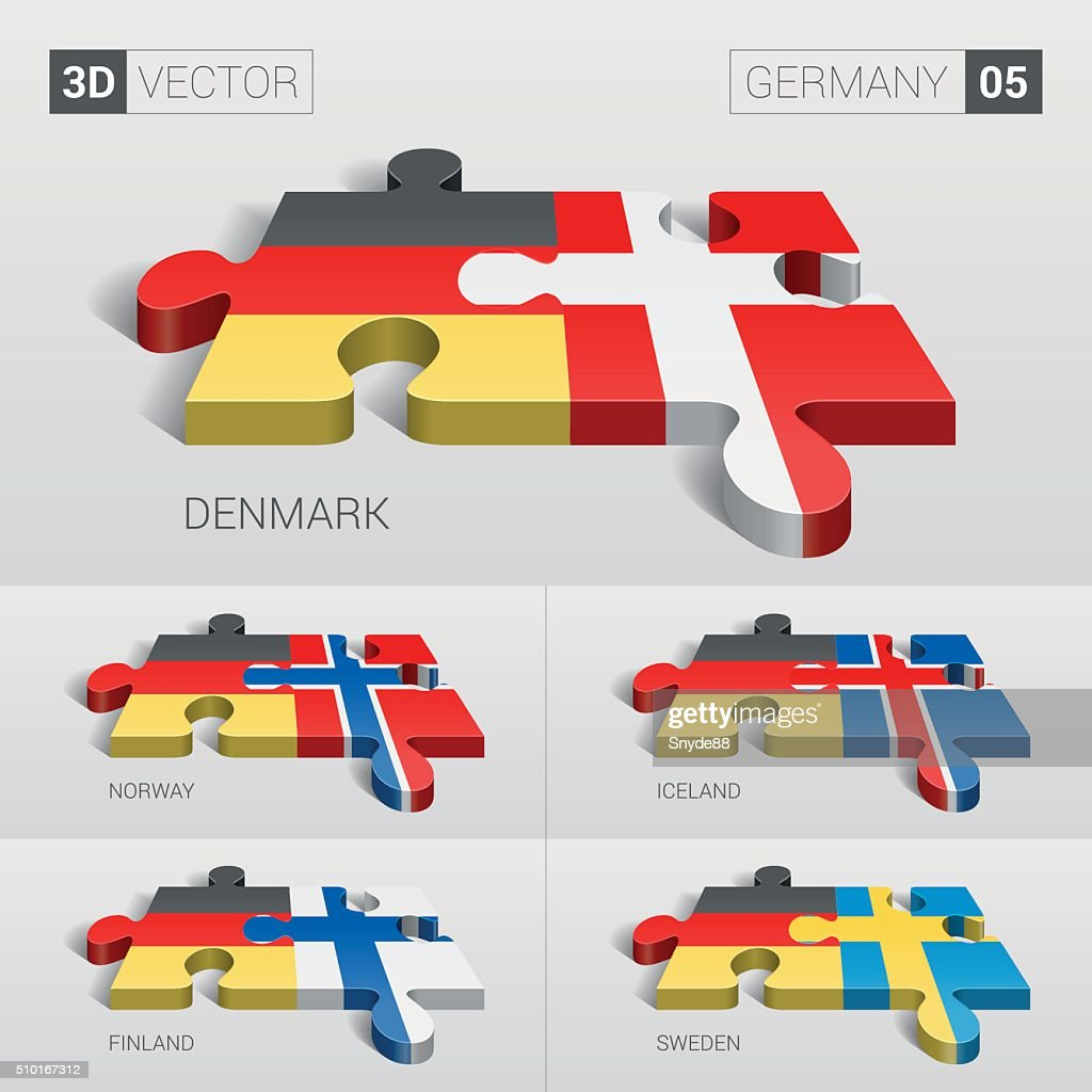 Germany Flag. 3d vector puzzle. Set 05.
