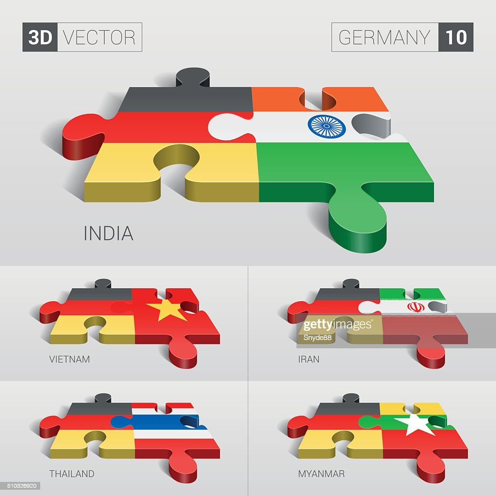 Germany Flag. 3d vector puzzle. Set 10.