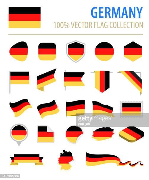 illustrazioni stock, clip art, cartoni animati e icone di tendenza di germania - flag icon flat vector set - cultura tedesca