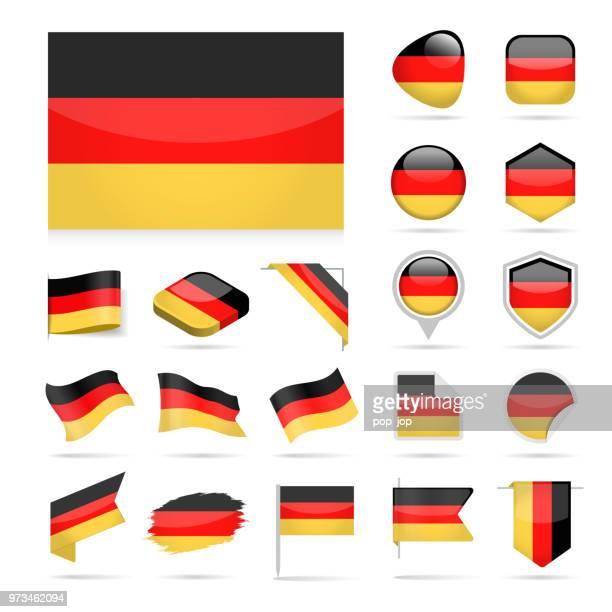 deutschland - flagge glänzend vector icons - deutsche flagge stock-grafiken, -clipart, -cartoons und -symbole
