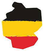 Germany Flag & Map Vector Hand Painted with Rounded Brush