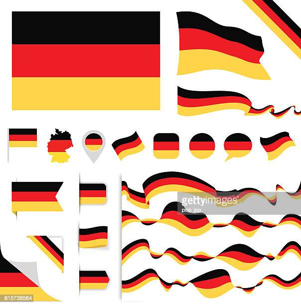 germany flag set - germany stock illustrations, clip art, cartoons, & icons