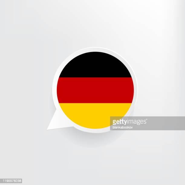 deutschland-flagge-sprechblase - diplomatie stock-grafiken, -clipart, -cartoons und -symbole