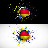 Germany flag with soccer ball dash on colorful background