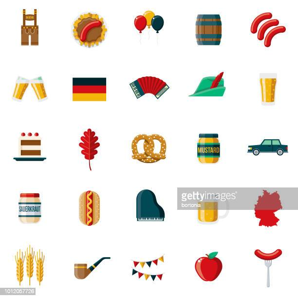 germany flat design icon set - germany stock illustrations, clip art, cartoons, & icons
