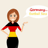 Germany football fans.Cheerful soccer fans, sports images.Young woman,Pretty girl sign.Happy fans are cheering for their team.Vector illustration