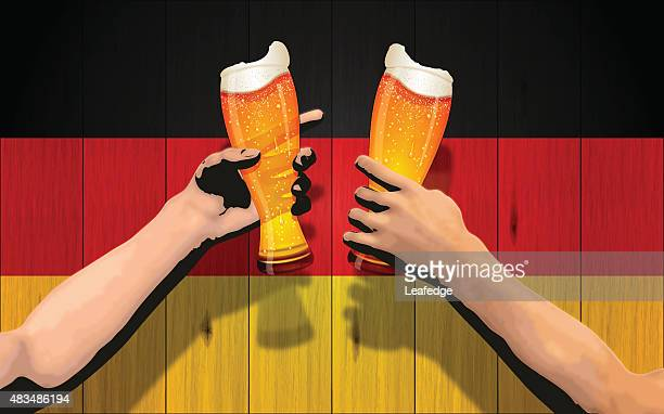 Deutschland Urlaub Hintergrund [ Bord Flagge und Cheers ]