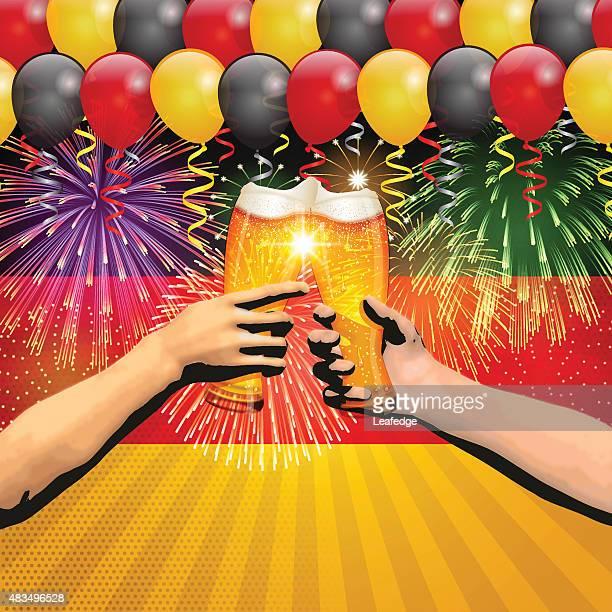 Deutschland Urlaub Hintergrund [ Flagge und Ballons und Cheers ]