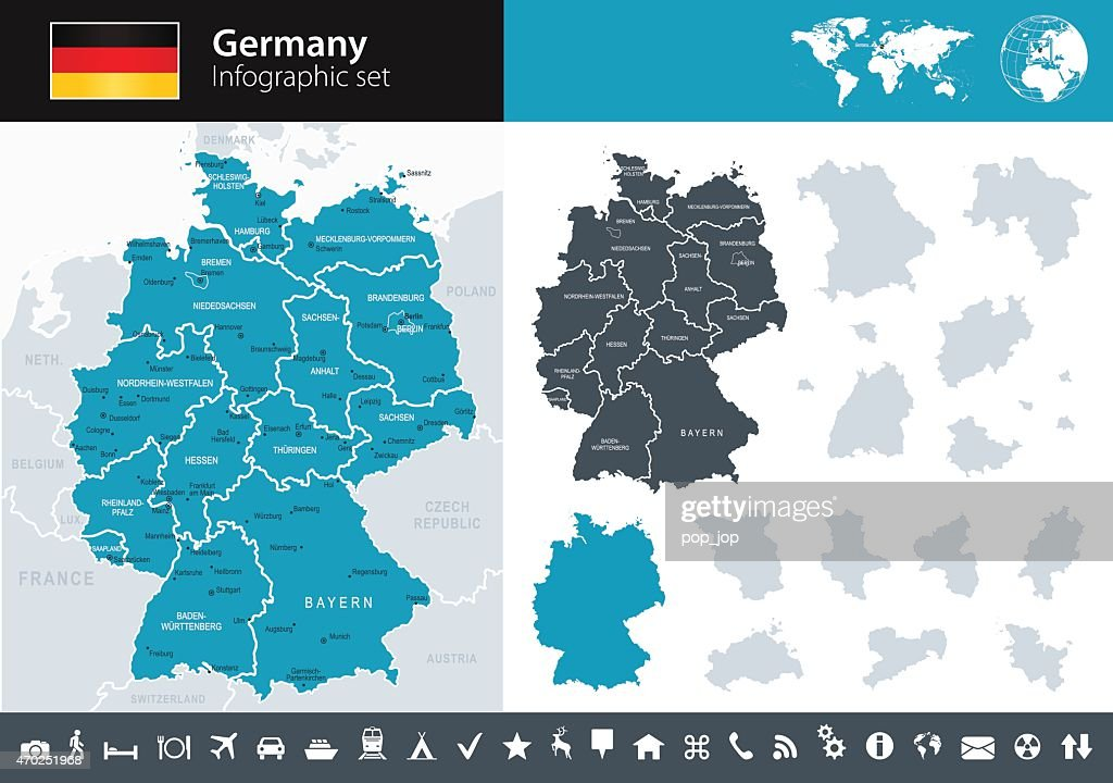 germany infographic map illustration vector art