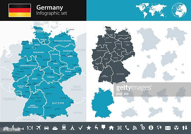 germany - infographic map - illustration - germany stock illustrations, clip art, cartoons, & icons