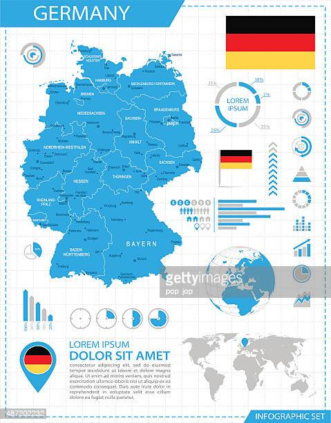 germany - infographic map - illustration - central europe stock illustrations, clip art, cartoons, & icons