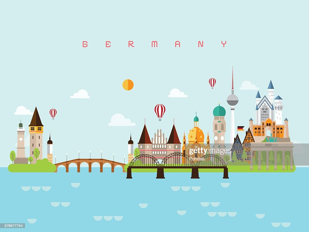 Germany Landmarks Travel and Journey Vector