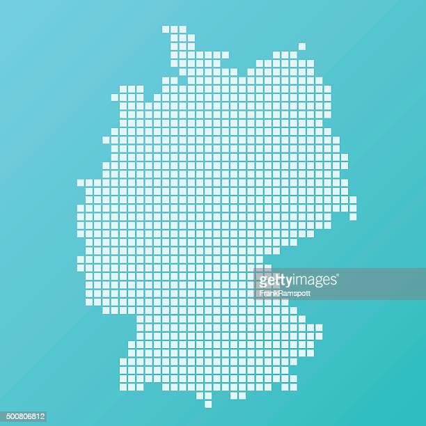 Allemagne carte simple Motif Turquoise mètres