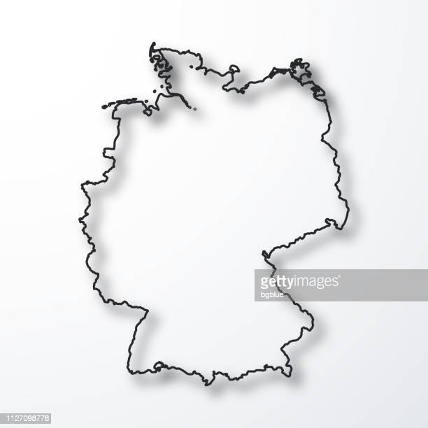germany map - black outline with shadow on white background - germany stock illustrations