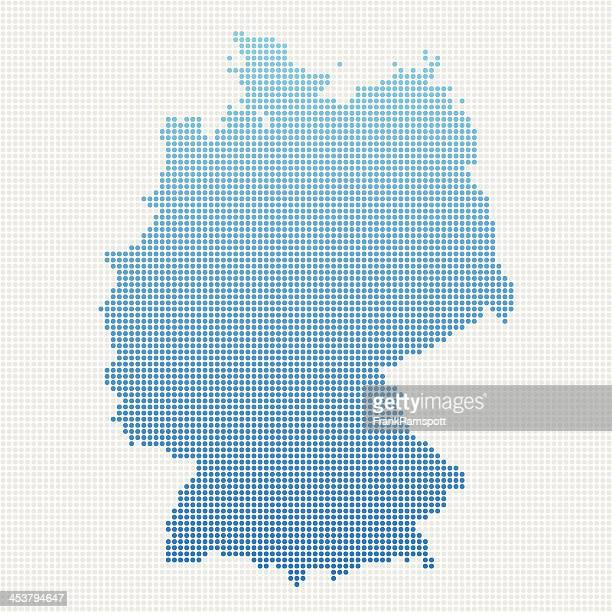 germany map blue dot pattern - germany stock illustrations, clip art, cartoons, & icons