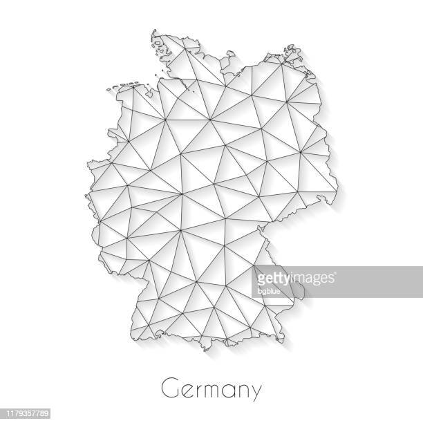 germany map connection - network mesh on white background - germany stock illustrations