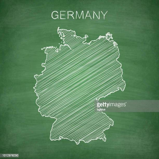 germany map drawn on chalkboard - blackboard - germany stock illustrations, clip art, cartoons, & icons
