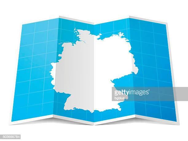 Allemagne carte repliée, isolé sur fond blanc