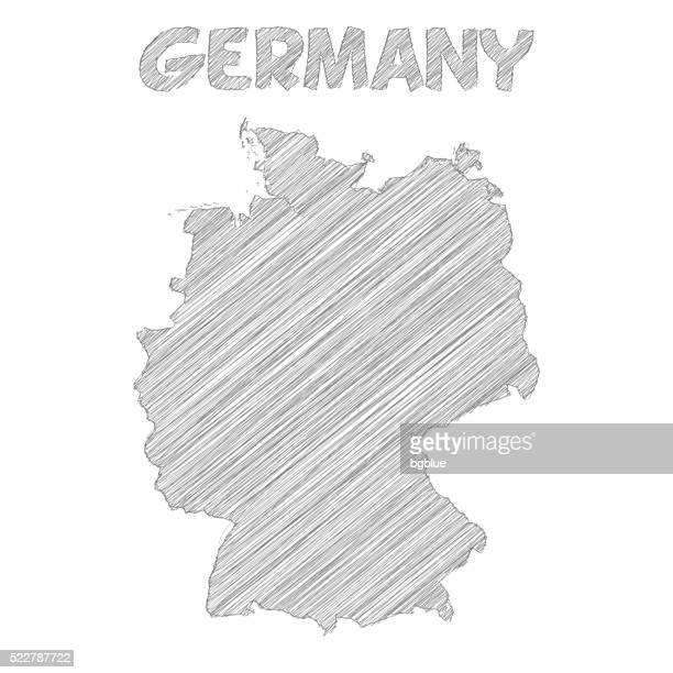 germany map hand drawn on white background - germany stock illustrations