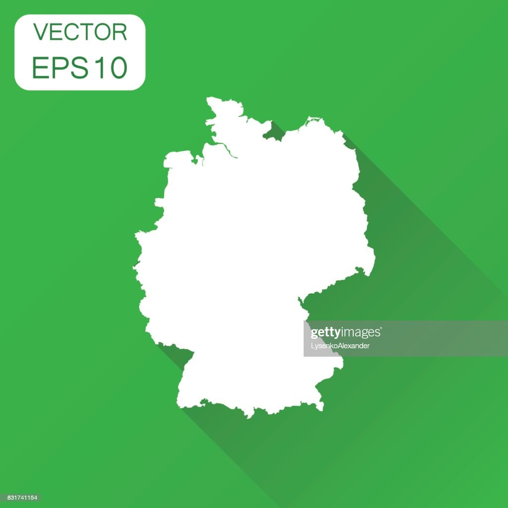 Germany map icon. Business cartography concept outline Germany pictogram. Vector illustration on green background with long shadow.