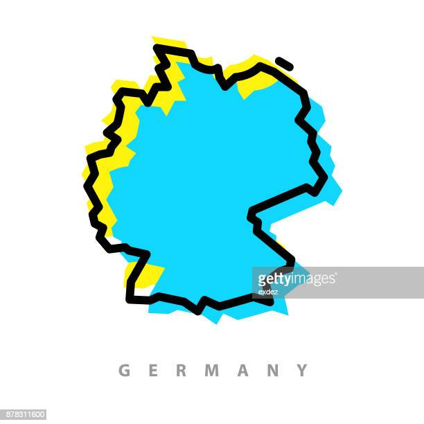 germany map illustration - germany stock illustrations, clip art, cartoons, & icons