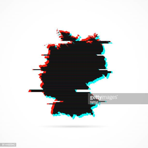 germany map in distorted glitch style. modern trendy effect - germany stock illustrations