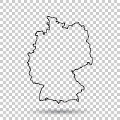 Germany Map in line style on isolated background. Vector illustration.