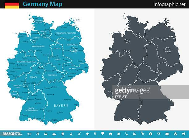 germany map - infographic set - germany stock illustrations, clip art, cartoons, & icons