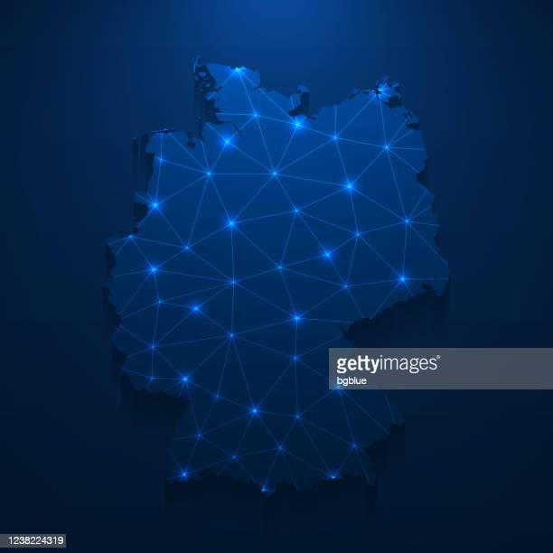 ilustrações de stock, clip art, desenhos animados e ícones de germany map network - bright mesh on dark blue background - alemanha