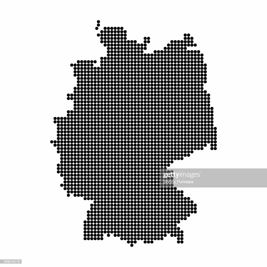 Germany Map of black circle shape on white background. Vector illustration dotted style.