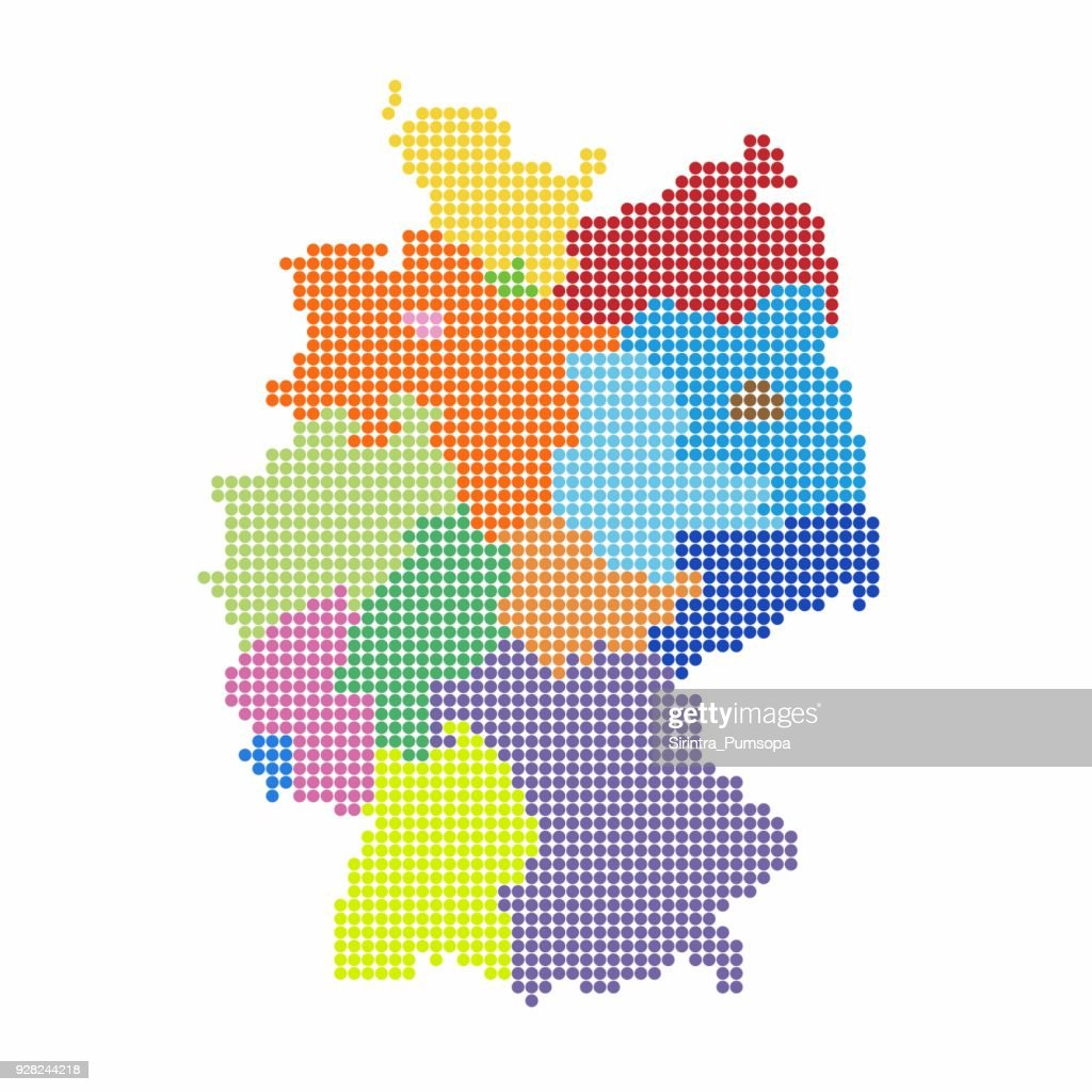 Germany Map of circle shape with the regions colorful in bright colors on white background. Vector illustration dotted style.