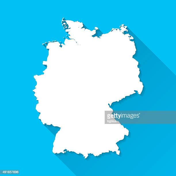 germany map on blue background, long shadow, flat design - germany stock illustrations, clip art, cartoons, & icons