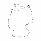 Germany map outline graphic freehand drawing on white background. Vector illustration