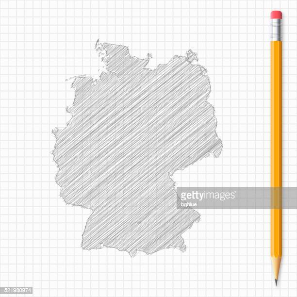 Allemagne plan croquis de crayon sur papier quadrillé