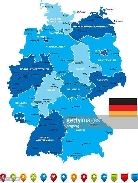 germany map - germany stock illustrations, clip art, cartoons, & icons