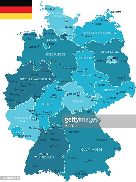 stockillustraties, clipart, cartoons en iconen met germany map - duitsland